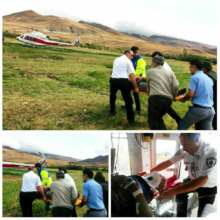 پرواز بالگرد هوایی برای نجات جان مصدوم حادثه سقوط از درخت