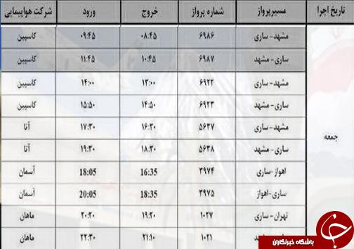 پروازهای جمعه ۱۴ مهر از فرودگاههای مازندران