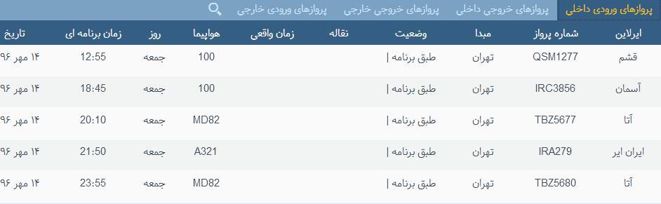 پروازهای جمعه ۱۴ مهر ماه  از فرودگاه بین المللی ارومیه