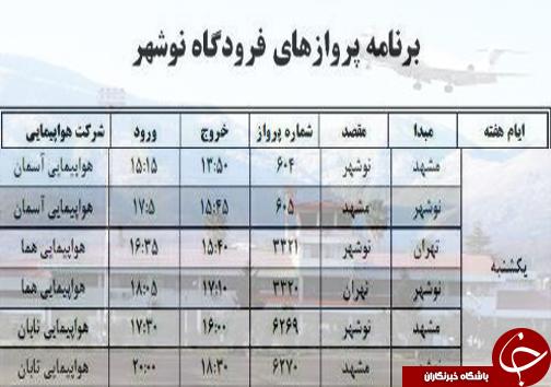 پروازهای یکشنبه ۱۶ مهر از فرودگاههای مازندران