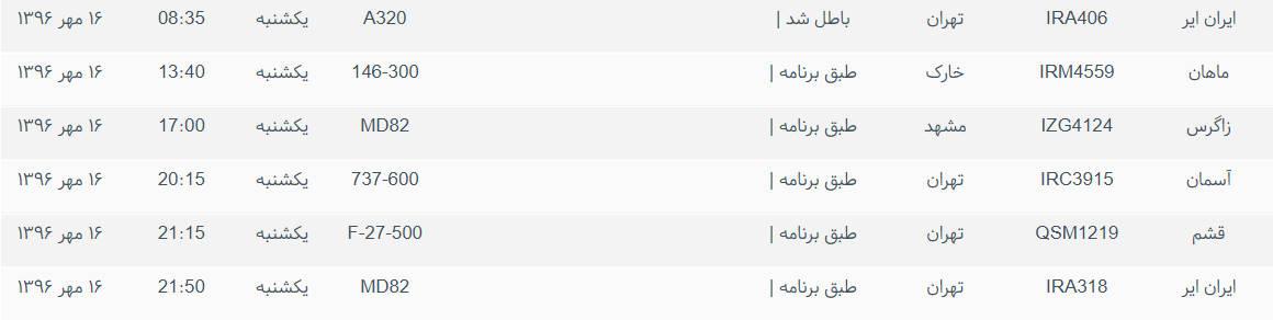 پروازهای ورودی و خروجی از فرودگاه بین المللی بوشهر