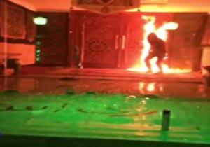 Image result for درب مسجد حضرت جوادالائمه توسط چند جوان آتش زده شد.