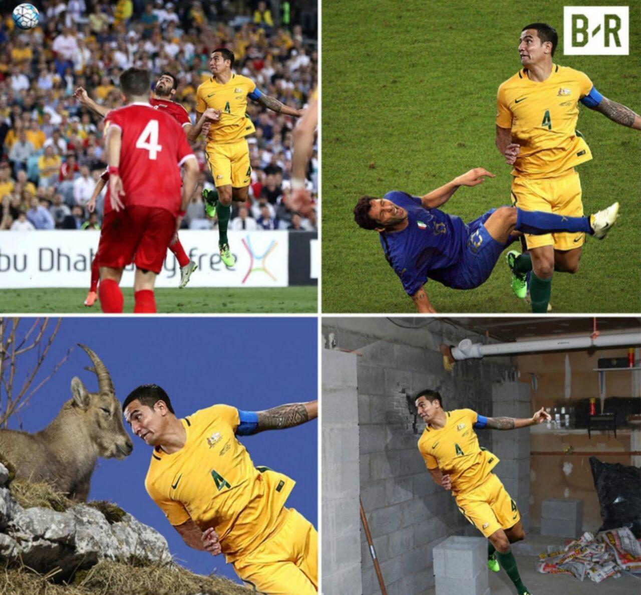 شوخی کاربران فضای مجازی با ضربه سر بازیکن استرالیا+عکس