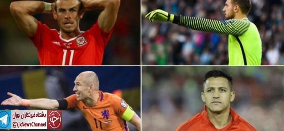تیم منتخب سرشناس ترین غایبان جام جهانی 2018؛ از بیل و سانچز تا اوبلاک و آلابا