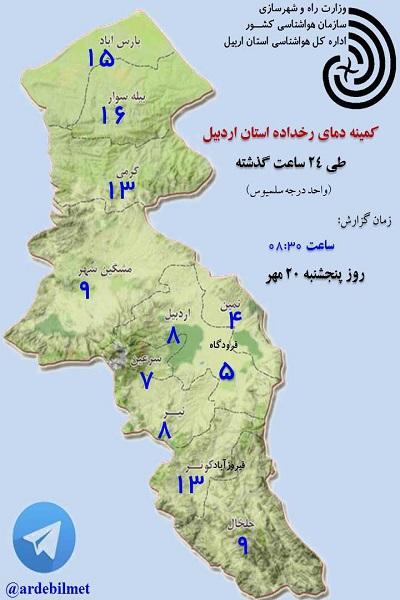 وضعیت آب و هوای اردبیل پنجشنبه 20 مهر ماه