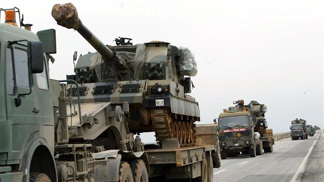 استقرار گسترده خودروهای نظامی ترکیه در مرز سوریه