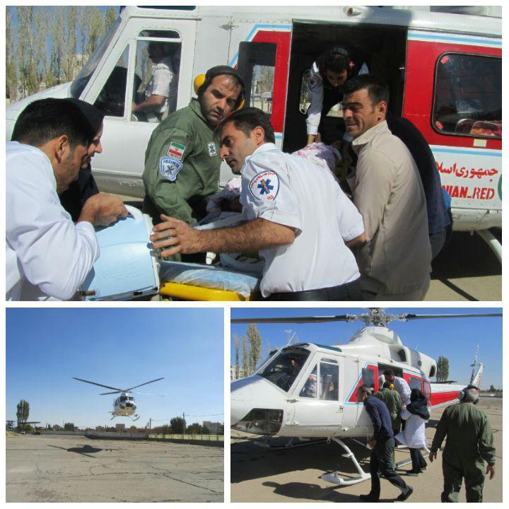 پرواز بالگرد هوایی برای نجات جان بیمار سکته مغزی