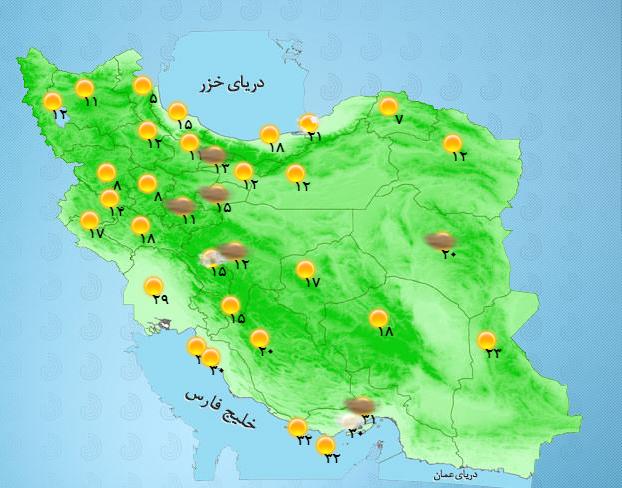 رگبار باران همراه با رعد و برق در جنوب غرب کشور/ آسمان تهران صاف است + جدول