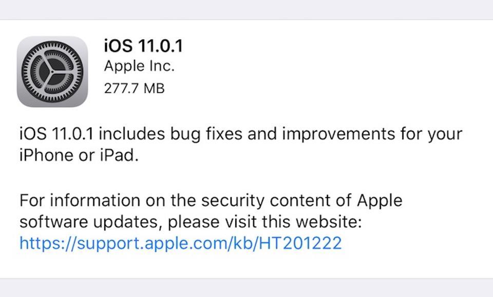 آیاواس 11.0.1 منتشر شد
