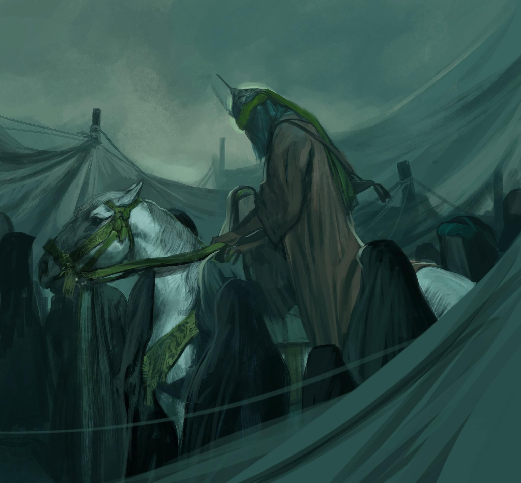 «یا ساقی العطاشا»؛ جدیدترین نقاشی عاشورایی حسن روحالامین