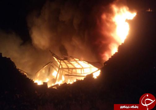 آتش در انبار ضایعات پلاستیک تاکستان+تصاویر