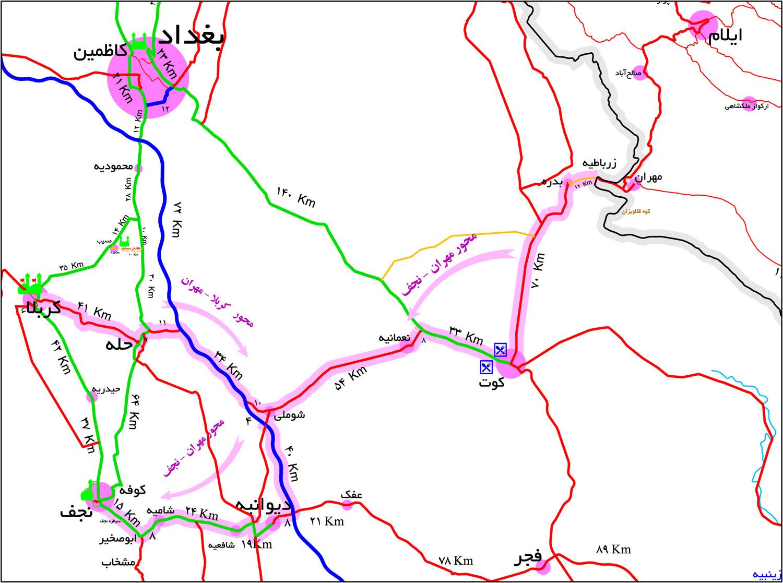 مسیر نجف تا کربلا چند کیلومتر است؟