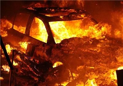 آتش گرفتن خودرو و مرگ راننده پس از وقوع تصادف + فیلم