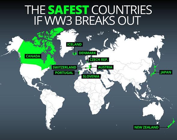 امنترین کشورها در صورت وقوع جنگ جهانی سوم