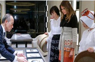 بازدید ملانیا از نمایشگاه جواهرات در توکیو+فیلم