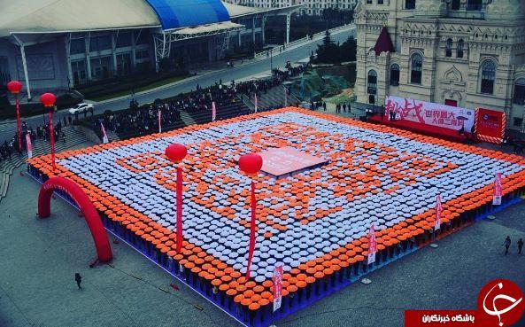 تشکیل بزرگترین بارکد دوبعدی انسانی جهان در چین+تصاویر