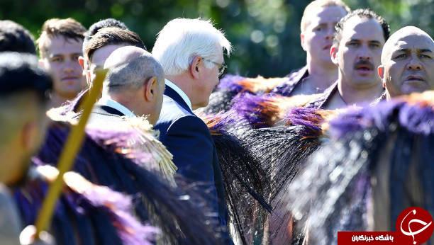 استقبال عجیب از رییس جمهور آلمان در نیوزیلند به سبک آدمخوارها+عکس