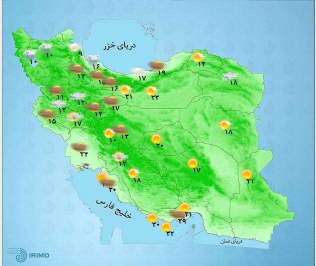 رگبار باران و کاهش نسبی دما در البرز مرکزی+جدول