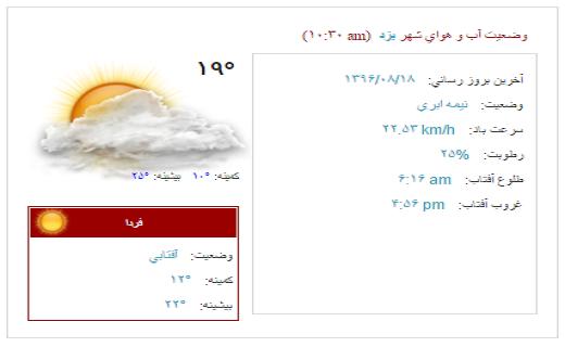 آب و هوای یزد در 18 آبان