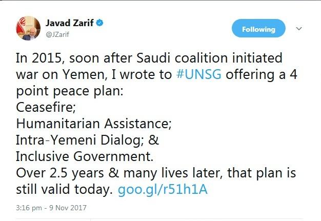ظریف بر طرح صلح چهار مادهای ایران برای حل بحران یمن تاکید کرد