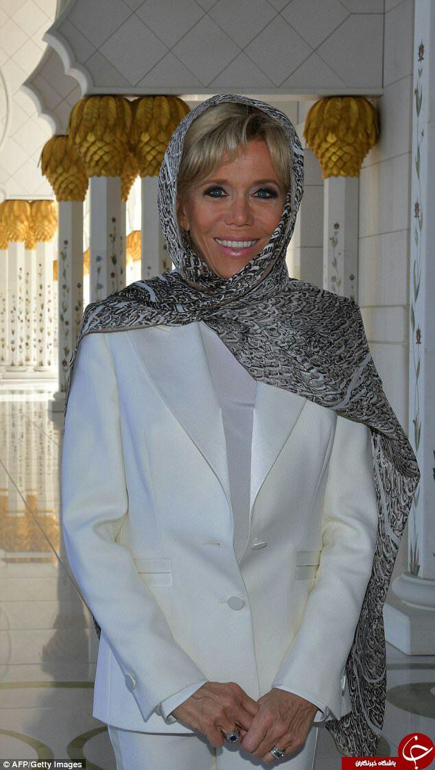 حجاب همسر رئیسجمهور فرانسه در بازدید از مسجد شیخ زاید ابوظبی