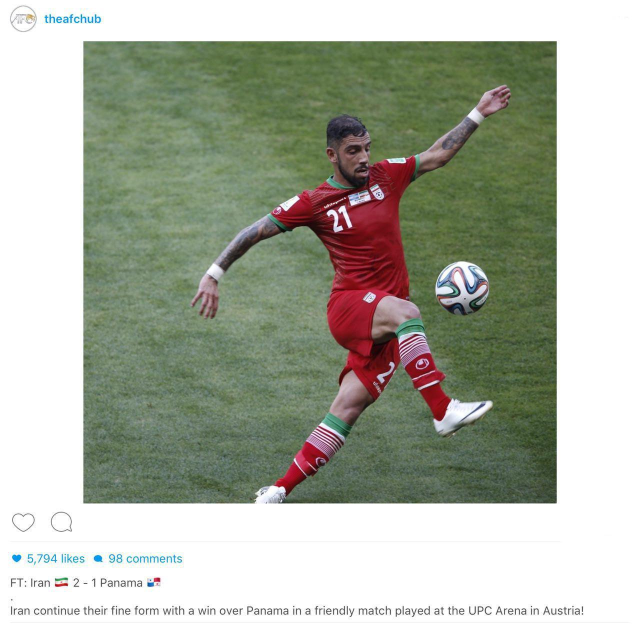 بازتاب پیروزی ایران برابر پاناما در سایت AFC