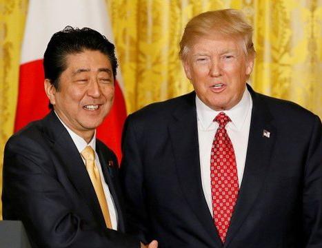 کله معلق زدن نخست وزیر ژاپن مقابل ترامپ