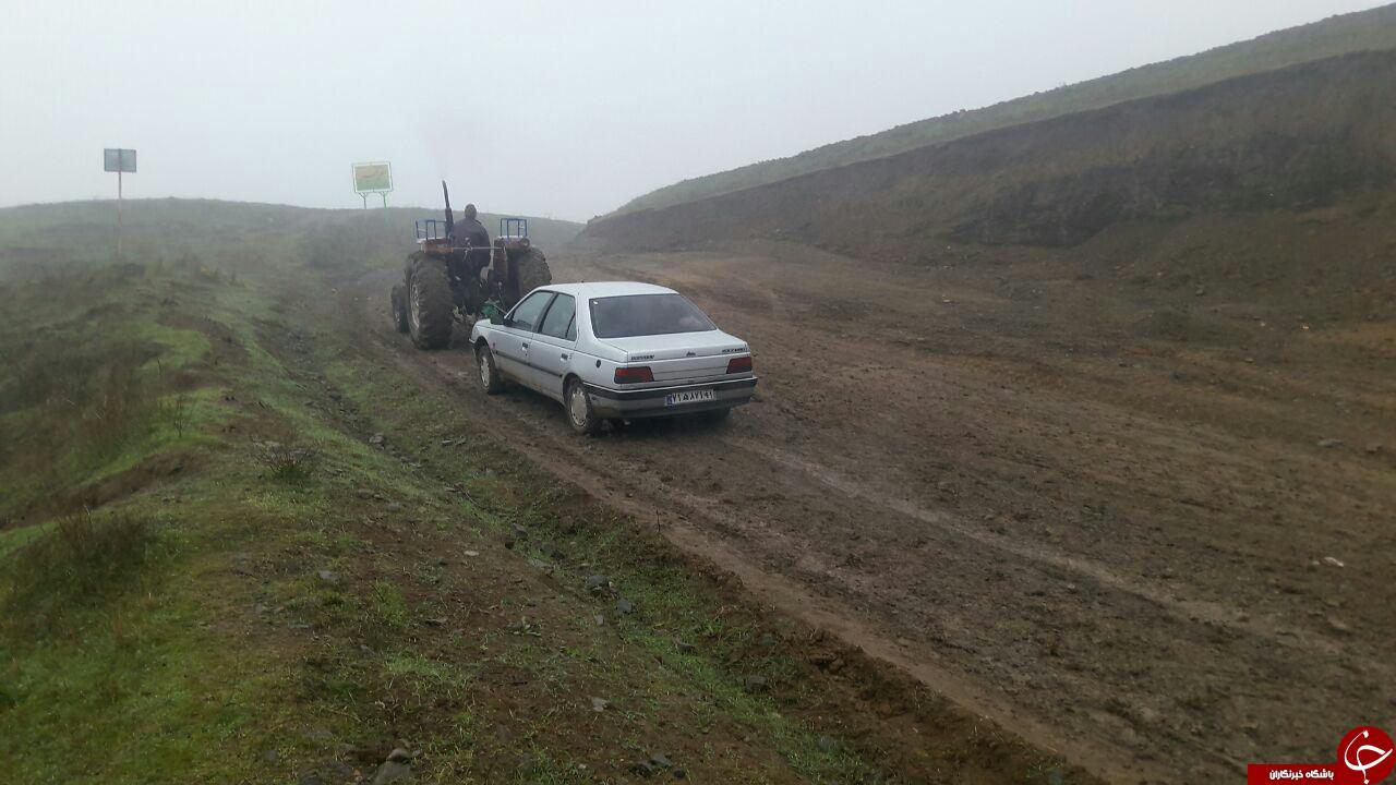 دشواری تردد از جاده روستای «شهبازلو» + تصاویر