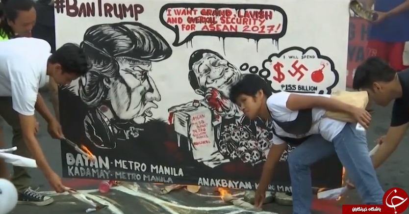 تظاهرات ضد ترامپ در فیلیپین در آستانه سفر وی به این کشور+ تصاویر