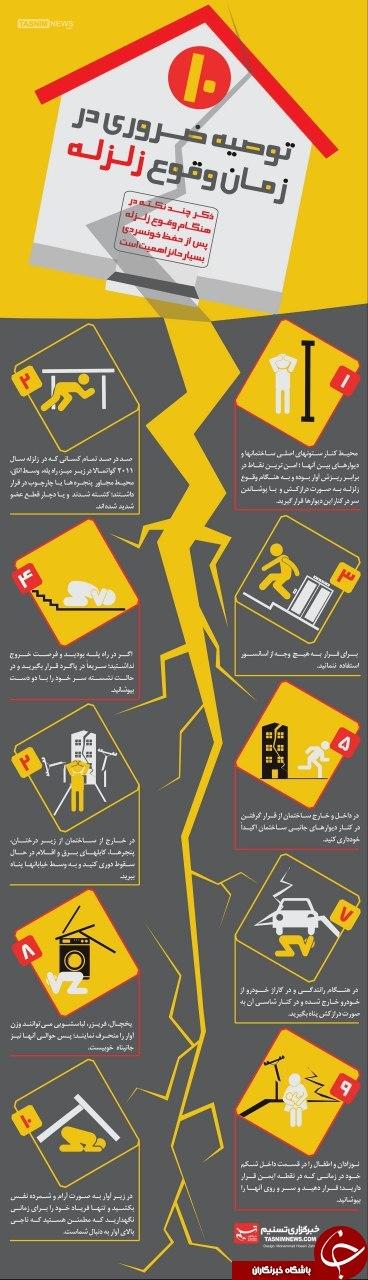 توصیه های ضروری در زمان وقوع زلزله + اینفوگرافیک