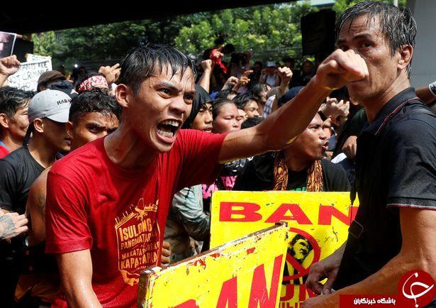 به آتش کشیدن آدمک ترامپ با لباس و سبیل هیتلر در فیلیپین+ تصاویر و فیلم