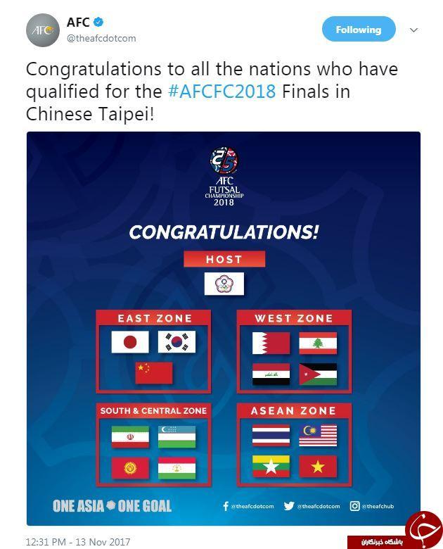 اعلام سید بندی مناطق جام ملت های فوتسال آسیا 2018