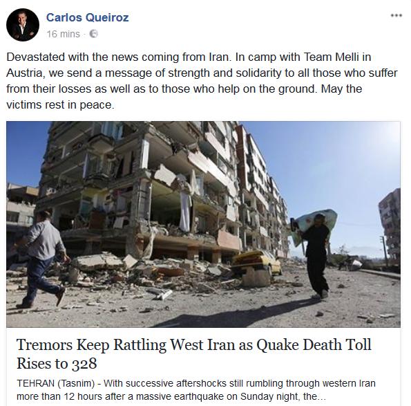 واکنش فیسبوکی کی روش به زلزله ایران+عکس