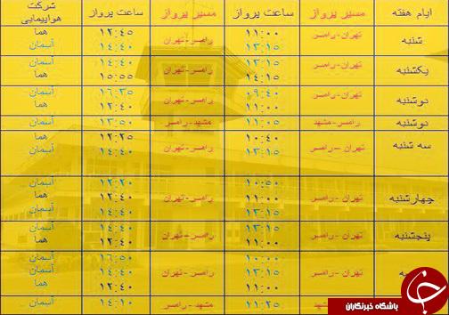 پروازهای سه شنبه ۲۳ آبان از فرودگاههای مازندران