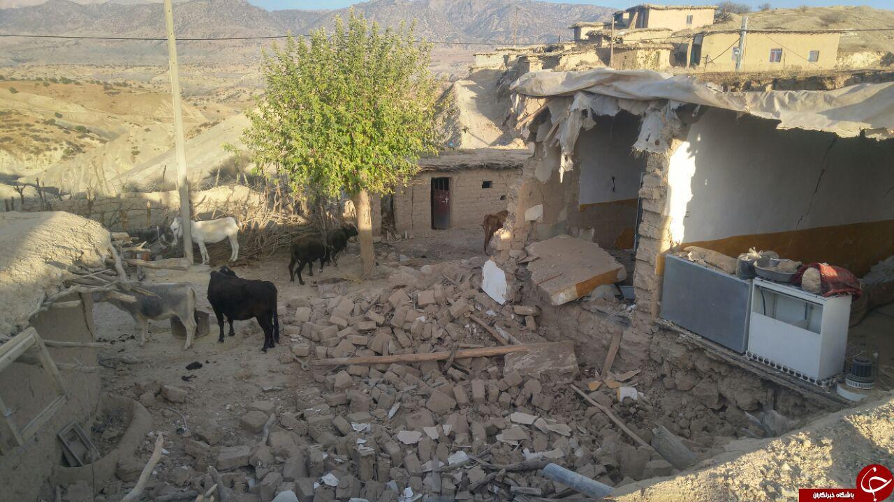خسارتهای زلزله در روستای «ثلاث باباجانی» + تصاویر