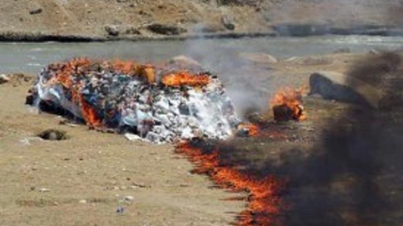 سوزاندن بیش از 20 تُن مواد مخدر در ولایت هرات