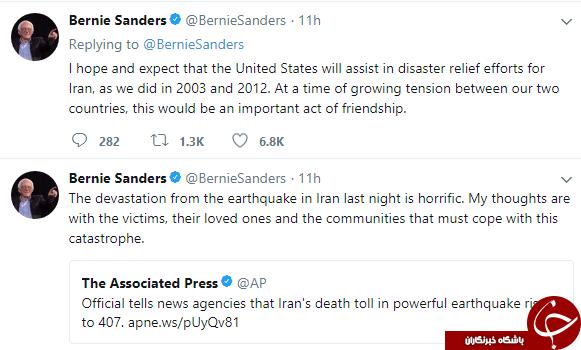 درخواست سندرز از ترامپ برای کنار گذاشتن اختلافهایش با ایران و کمک به زلزلهزدگان