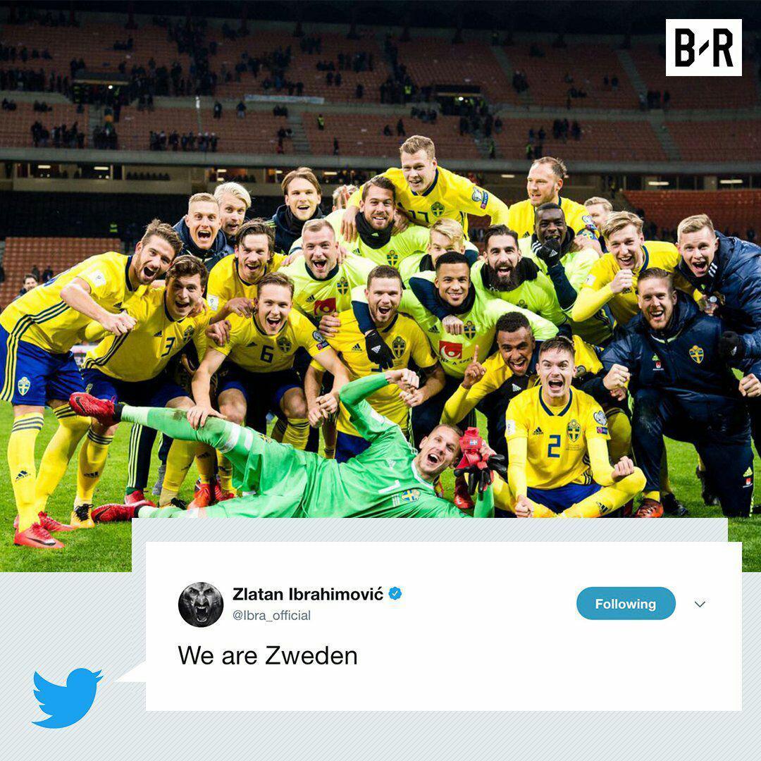 واکنش زلاتان ابراهیمویچ به راه یابی سوئد به جام جهانی روسیه+عکس