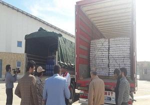 ارسال محموله مواد غذایی از خراسان شمالی به کرمانشاه