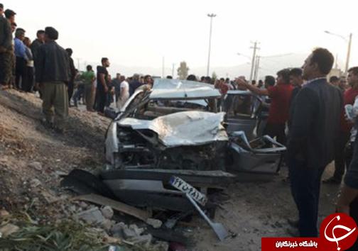 ۳ کشته و مصدوم در تصادف دو خودروی سواری + تصاویر