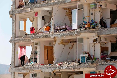 نمایی از ساختمانی تخریب شده در زلزله ۷.۳ ریشتری سرپل ذهاب، ایران