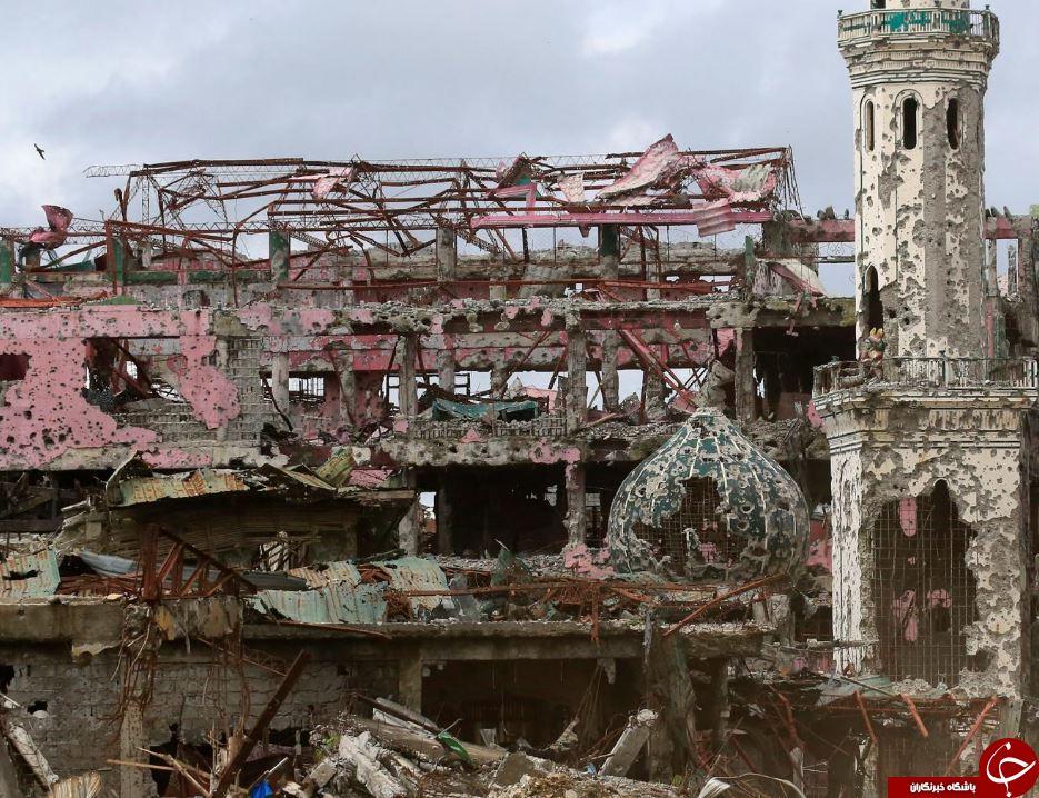ریشه میخچه ویرانیهای برجای مانده از جنایات داعش در فیلیپین در قاب تصاویر