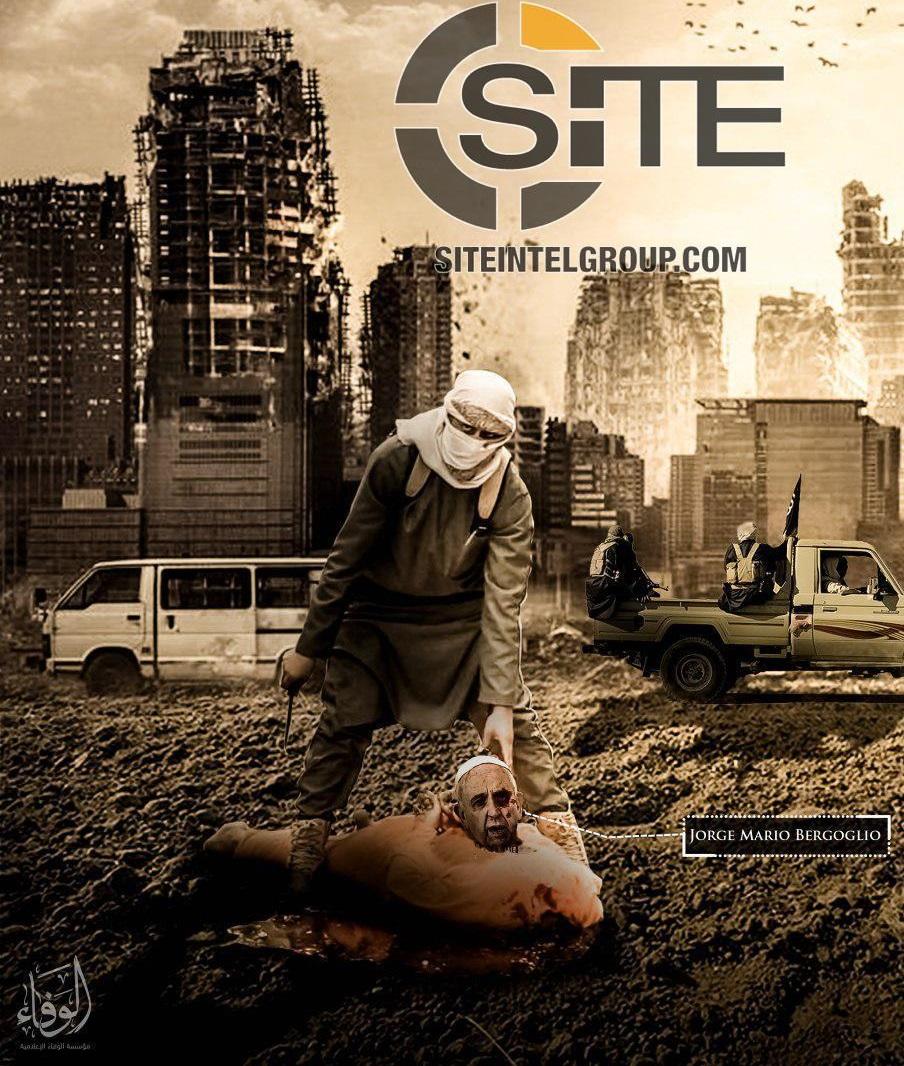 انتشار پوستر وحشتناک داعش علیه پاپ فرانسیس + تصاویر (۱۶+)