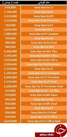 آخرین قیمت گوشی های Sony موجود در بازار