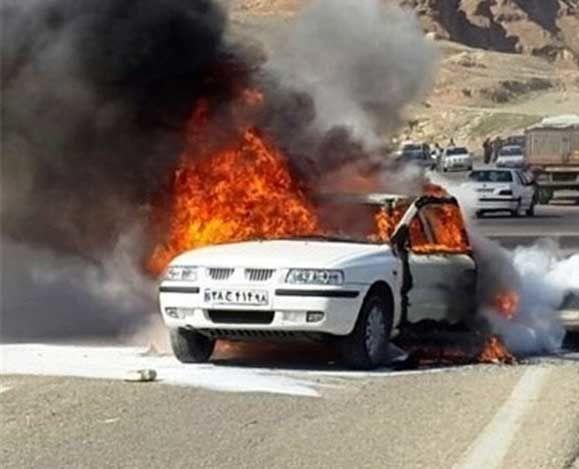 2 نفر بر اثر آتش گرفتن خودروی سمند کشته شدند