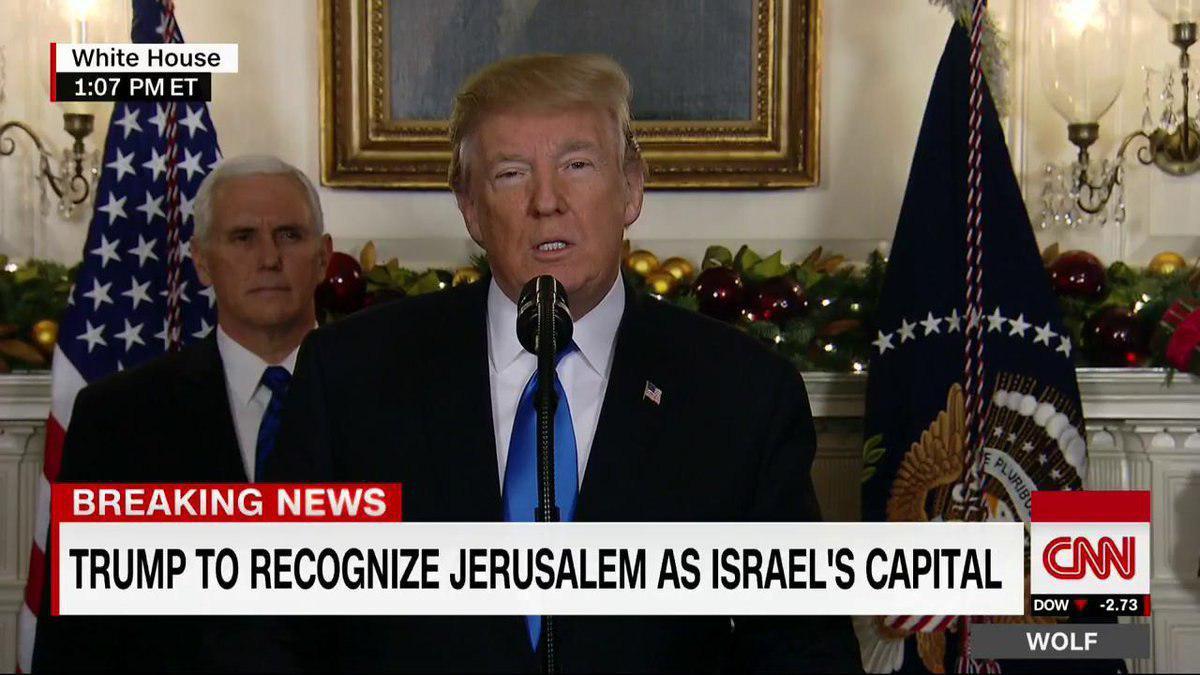 ترامپ قدس را به عنوان پایتخت اسرائیل به رسمیت شناخت,