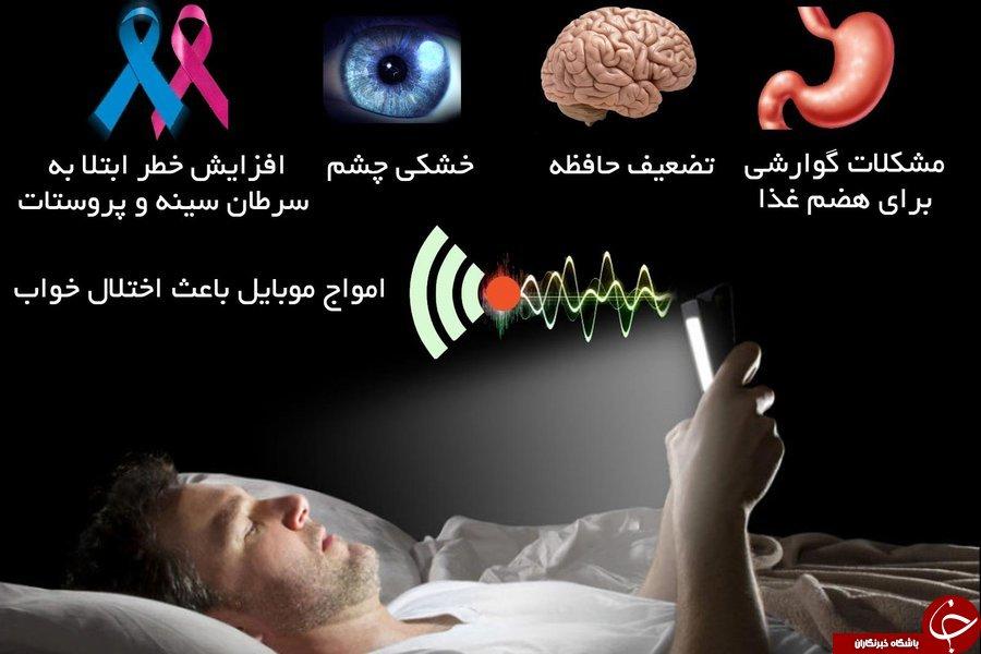 استفاده از تبلت و موبایل پیش ازخواب موجب چه  اختلالی در بدن می شود+اینفوگرافی