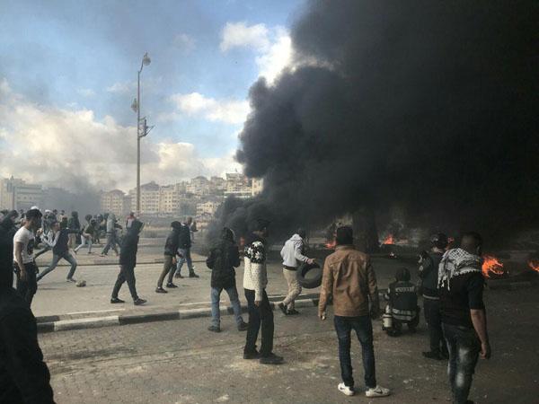 تظاهرات فلسطینیان در بیت لحم به خشونت کشیده شد