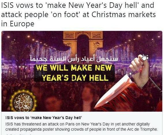 تهدید جدید داعش : « روز کريسمس را به روز جهنم تبديل مي کنیم »