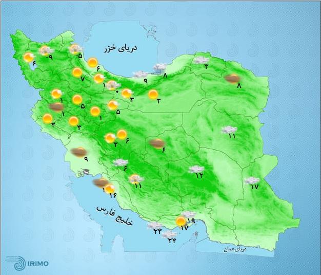 بارش برف و باران دربرخی استان های کشور+ جدول
